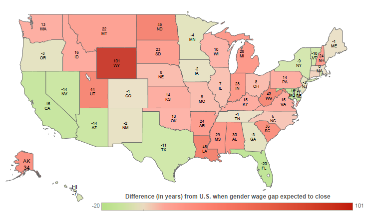 Womans Work Navigating A Womans Work At Home And The Office - Us wage gap map